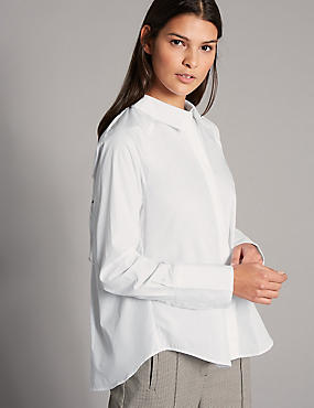 Pure Cotton Ruched Poplin Long Sleeve Shirt