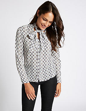 Geometric Print Bow Long Sleeve Shirt