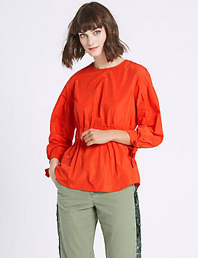 Tie Sleeve Round Neck Blouse