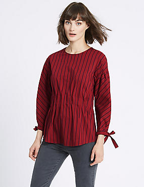 Striped Waist Gather ¾ Sleeve Shell Top