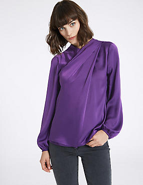 Round Neck Long Sleeve Shell Top