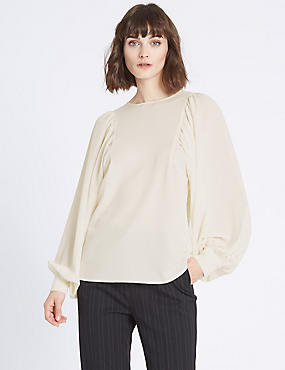 Round Neck Pleated Volume Sleeve Blouse