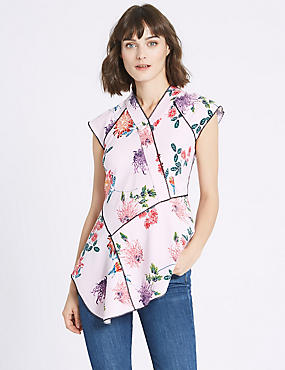 Floral Oriental Print Cap Sleeve Shell Top