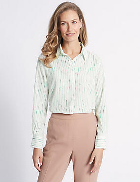 Striped Crepe Long Sleeve Shirt