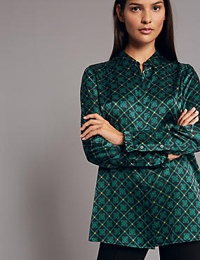 Pure Silk Printed Frill Cuff Shirt