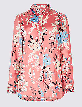 Floral Print Long Sleeve Satin Shirt