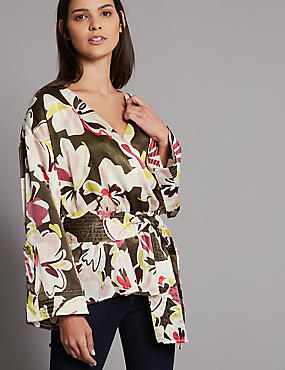 Floral Print V-Neck Long Sleeve Blouse
