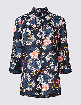 Cotton & Silk Blend Floral Print Shirt