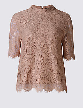 Cotton Blend Lace Tie Back Shell Top