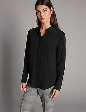 Pure Silk Long Sleeve Shirt, BLACK, catlanding