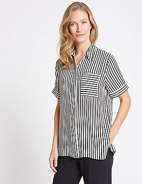 Striped Short Sleeve Shirt , NAVY MIX, catlanding