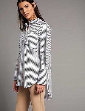 Pure Cotton Longline Long Sleeve Shirt , BLUE MIX, catlanding