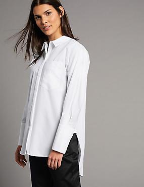 Pure Cotton Longline Long Sleeve Shirt , SOFT WHITE, catlanding