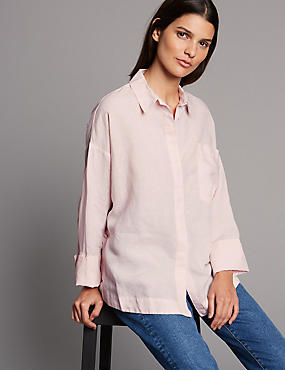 Boxy Linen Rich Shirt, LIGHT PINK, catlanding