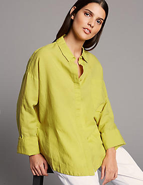 Boxy Linen Rich Shirt, WINTER LIME, catlanding