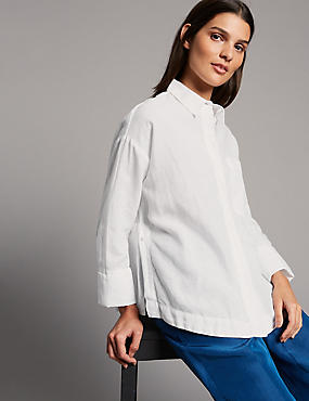 Boxy Linen Rich Shirt, SOFT WHITE, catlanding