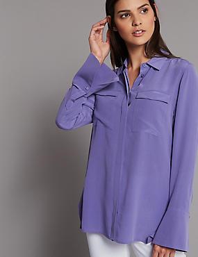 Pure Silk Button Through Long Sleeve Shirt, DARK LILAC, catlanding