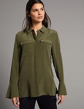 Pure Silk Button Through Long Sleeve Shirt, KHAKI, catlanding