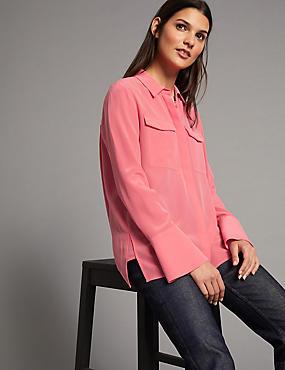 Pure Silk Button Through Long Sleeve Shirt, WATERMELON, catlanding