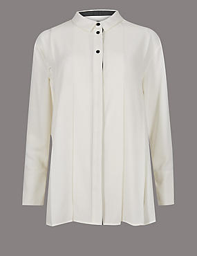 Placket Pleated Long Sleeve Shirt