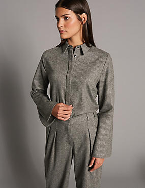Split Cuff Long Sleeve Tweed Shirt