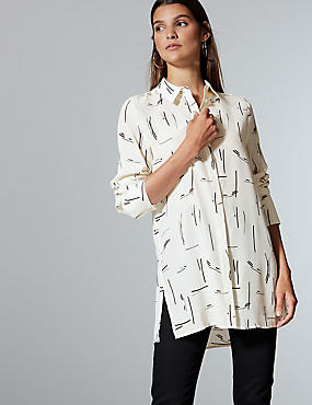 Pure Silk Printed Long Sleeve Shirt , IVORY MIX, catlanding