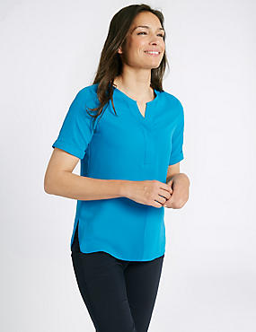 Stitch Detail Short Sleeve Blouse