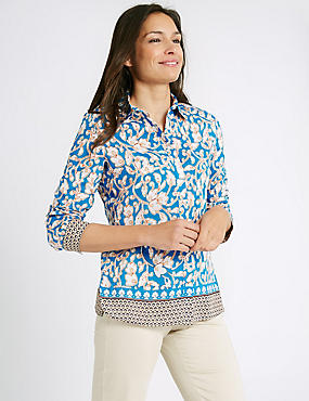 Cotton & Silk Blend Printed Shirt