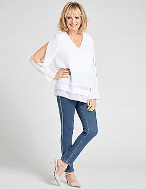 Waterfall V-Neck Long Sleeve Blouse
