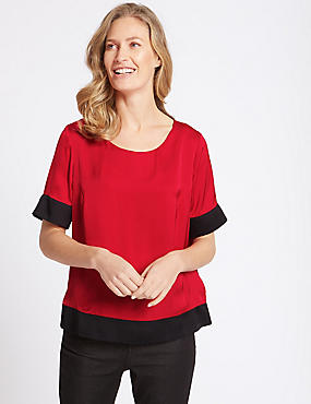 Colour Block Double Layered Shell Top, RED, catlanding