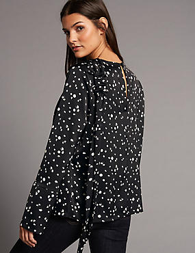 Spotted Drape Shoulder Long Sleeve Blouse