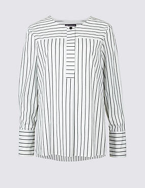 Pure Cotton Striped Long Sleeve Blouse  , WHITE MIX, catlanding