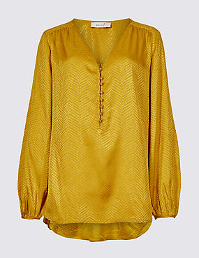 Textured Satin V-Neck Long Sleeve Blouse , OCHRE, catlanding