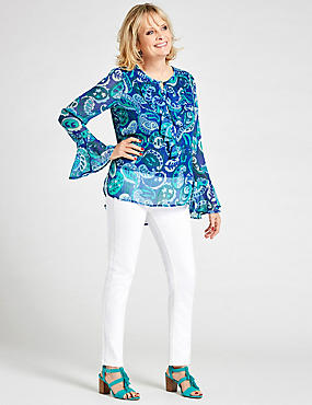 Printed Notch Neck Long Sleeve Blouse, BLUE MIX, catlanding