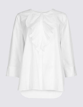 Pure Cotton Ruffle Detail 3/4 Sleeve Blouse