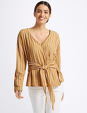 Striped V-Neck Long Sleeve Wrap Top , OCHRE, catlanding