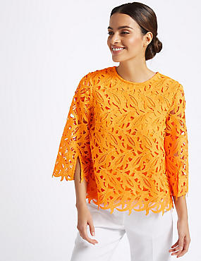 Lace Round Neck 3/4 Sleeve Blouse , ORANGE, catlanding