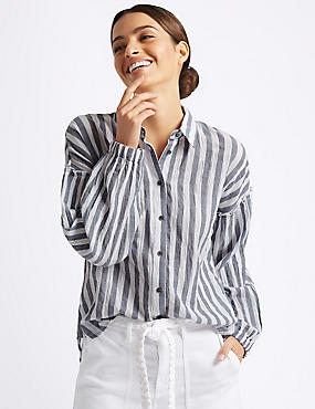Cotton Rich Striped Longline Shirt, GREY MIX, catlanding