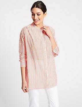 Pure Cotton Striped Long Sleeve Shirt , ORANGE MIX, catlanding