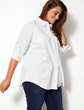 CURVE Cotton Rich Fuller Bust Shirt , , catlanding