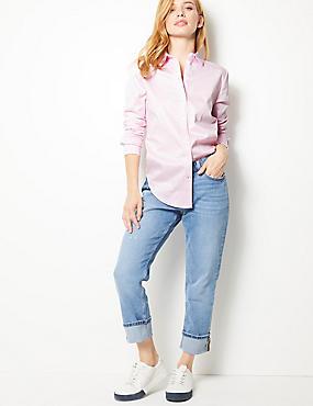 PETITE Cotton Rich Long Sleeve Shirt , PALE PINK, catlanding