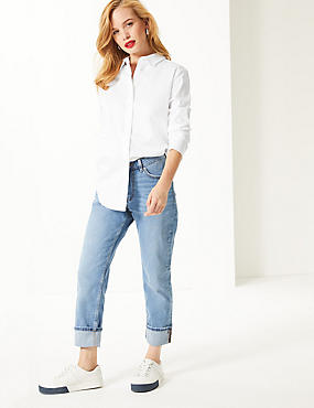 PETITE Cotton Rich Long Sleeve Shirt , WHITE, catlanding
