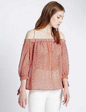 Loose Fit Bardot Print Cold Shoulder Blouse