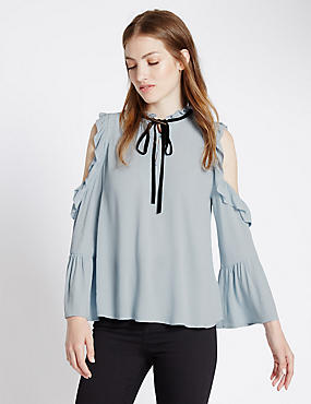 Loose Fit 3/4 Sleeve Cold Shoulder Blouse