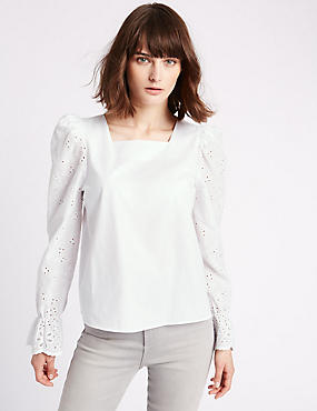 Flared Cuff Cutwork Sleeve Blouse