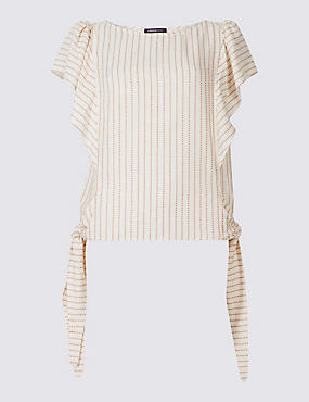 Striped Tie Side Short Sleeve Shell Top