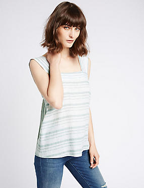 Linen Rich Striped Square Neck Vest Top