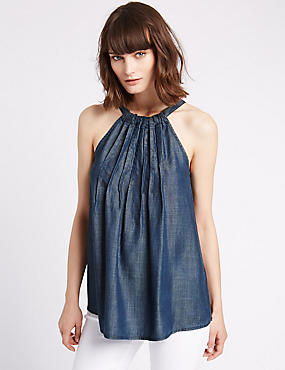 Denim Round Neck Vest Top