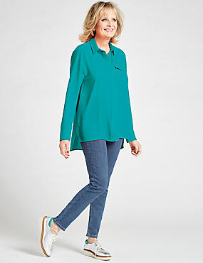 Dipped Hem Pocket Detail Long Sleeve Shirt, AQUA, catlanding