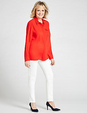 Dipped Hem Pocket Detail Long Sleeve Shirt, TOMATO, catlanding